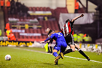 Cardiff City's defender Joe Bennett (3)  fouls Sheffield United's midfielder Chris Basham (6) during the Sky Bet Championship match between Sheff United and Cardiff City at Bramall Lane, Sheffield, England on 2 April 2018. Photo by Stephen Buckley / PRiME Media Images.