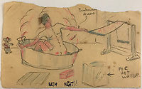 BNPS.co.uk (01202) 558833<br /> Pic: Tennants/BNPS<br /> <br /> Capt Witheford's accomplished work includes a drawing of a prisoner having a bath covered in sunburns from working on the railway.<br /> <br /> Cartoon drawings and photographs documenting life in a brutal Japanese prisoner of war camp have been found in an archive belonging to a former soldier. <br /> <br /> The satirical sketches depicting the plight of the British PoWs were produced in secret by Captain Harry Witheford and fell inmate Ronald Searle, the famous illustrator. <br /> <br /> The scenes included the notorious Changi PoW camp in Singapore and the building of the 'Death Railway' along the River Kwai in Burma. <br /> <br /> There are three previously unseen cartoons by Searle. <br /> <br /> One is a sketch to mark Capt Witheford's wife Edna's birthday on April 10, 1944, which shows four officers wearing only loincloths toasting her with mugs of beer.<br /> <br /> Searle also created a calendar for his friend which depicted an image of an army officer lying besides a naked blonde woman. <br /> <br /> Capt Witheford's accomplished work includes a drawing of a prisoner having a bath covered in sunburns from working on the railway.