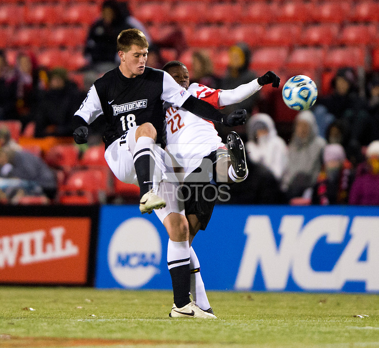 Suli Dainkeh (22) of Maryland fights for the ball with Mac Steeves (18) of Providence during the second round of the NCAA tournament at Ludwig Field in College Park, MD.  Maryland defeated Providence, 3-1.