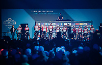 A joined (men & women) Lotto-Soudal team presentation in a packed Kuipke velodrome<br /> <br /> 74th Omloop Het Nieuwsblad 2019 <br /> Gent to Ninove (BEL): 200km<br /> <br /> ©kramon