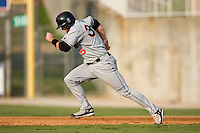 Hagerstown first baseman Robby Jacobsen (35) takes off for second base versus Kannapolis at Fieldcrest Cannon Stadium in Kannapolis, NC, Sunday, August 12, 2007.