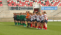 Saturday 20th April 2019 | 2019 Ulster Women's Junior Cup Final<br /> <br /> The City of Derry and Malone teams stand for a minutes silence before the final at Kingspan Stadium on Easter Saturday as a mark for respect for Lyra McKee who was murdered in Londonderry the day before. Photo John Dickson/Dicksondigital