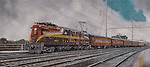 A GG-1 electric locomotive pulls a PRR passenger train in commuter service out from the station at Bay Head Junction, NJ. Oil on canvas, 16x36.