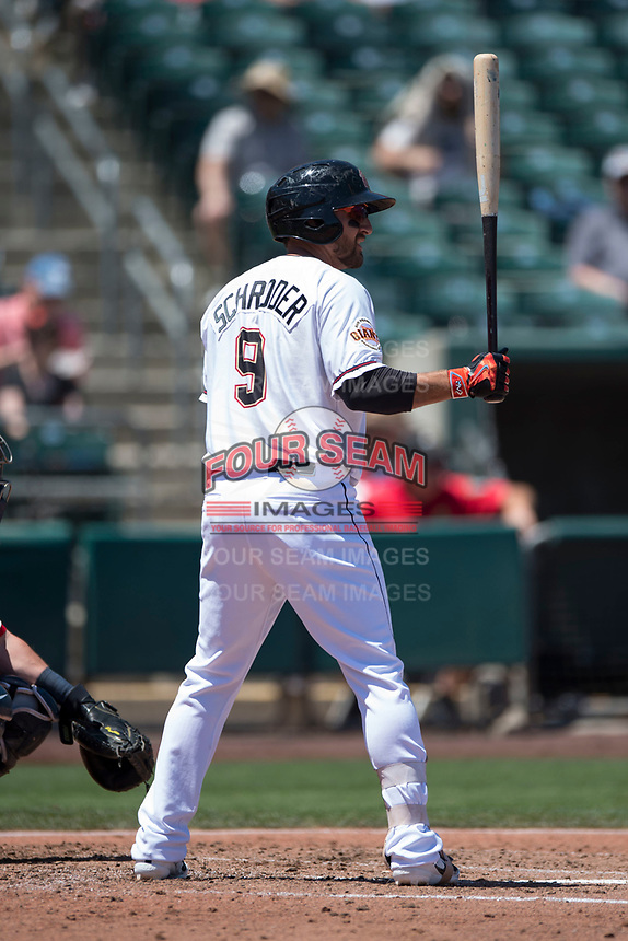 Sacramento RiverCats first baseman Myles Schroder (9) at bat during a Pacific Coast League against the Tacoma Rainiers at Raley Field on May 15, 2018 in Sacramento, California. Tacoma defeated Sacramento 8-5. (Zachary Lucy/Four Seam Images)