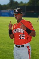 Aberdeen IronBirds first baseman Ronarsy Ledesma (12) poses for a photo before a game against the Batavia Muckdogs on July 15, 2016 at Dwyer Stadium in Batavia, New York.  Aberdeen defeated Batavia 4-2.  (Mike Janes/Four Seam Images)