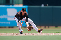 GCL Orioles shortstop Gunnar Henderson (9) fields a ground ball during a Gulf Coast League game against the GCL Braves on August 5, 2019 at Ed Smith Stadium in Sarasota, Florida.  GCL Orioles defeated the GCL Braves 4-3 in the second game of a doubleheader.  (Mike Janes/Four Seam Images)