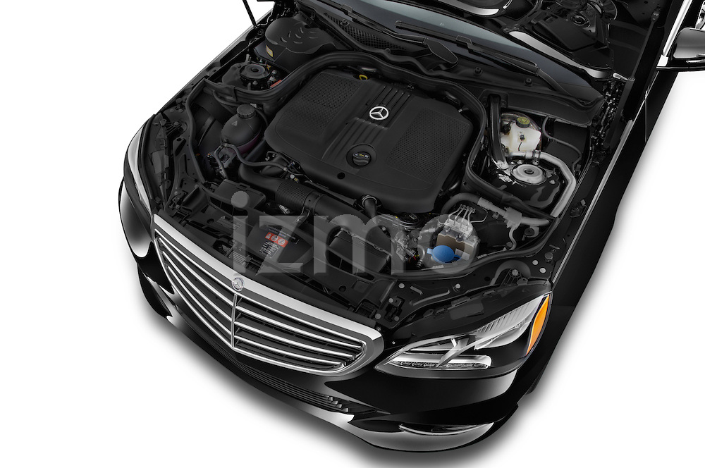Car stock 2015 Mercedes Benz E Class Elegance 4 Door Sedan engine high angle detail view