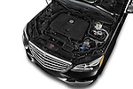 Car stock 2015 Mercedes Benz E Class Elegance 4 Door Sedan engine high angle detail view