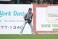 Hartford Yard Goats Drew Weeks (11) during a game against the Binghamton Rumble Ponies on July 9, 2017 at NYSEG Stadium in Binghamton, New York.  Hartford defeated Binghamton 7-3.  (Mike Janes/Four Seam Images)
