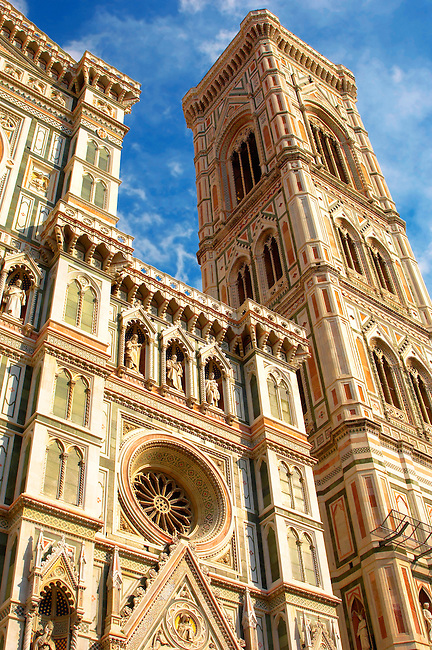 The Dome Catheral - Detail Of facadeand bell tower ; Florence Italy