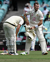7th January 2021; Sydney Cricket Ground, Sydney, New South Wales, Australia; International Test Cricket, Third Test Day One, Australia versus India; Marnus Labuschagne of Australia feels the heat and takes off his sweater