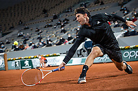 28th September 2020, Roland Garros, Paris, France; French Open tennis, Roland Garros 2020;  Dominic THIEM AUT plays a backhand during his match against Marin CILIC CRO in the Philippe Chatrier court on the first round of the French Open