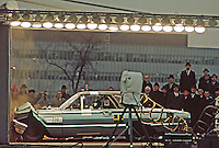 Ford engineers observe high speed test crash of a 1965 Ford Thunderbird. Ford Motor Company, Dearborn Michigan, 1966. Photo by John G. Zimmerman.