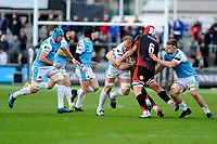 Alun Wyn Jones of Ospreys is tackled by Cory Hill of Dragons during the Guinness Pro14 round 12 match between the Dragons and the Ospreys at Rodney Parade in Newport, Wales, UK. Sunday 30 December 2018