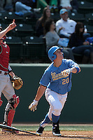 Jeff Gelalich #20 of the UCLA Bruins bats against the Washington State Cougars at Jackie Robinson Stadium on March 24, 2012 in Los Angeles,California. UCLA defeated Washington 12-3.(Larry Goren/Four Seam Images)