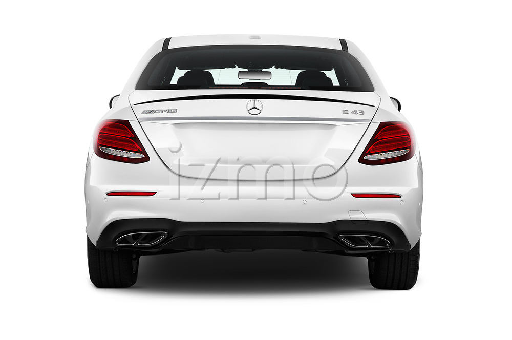 Straight rear view of 2017 Mercedes Benz E Class AMG 43 4 Door Sedan stock images
