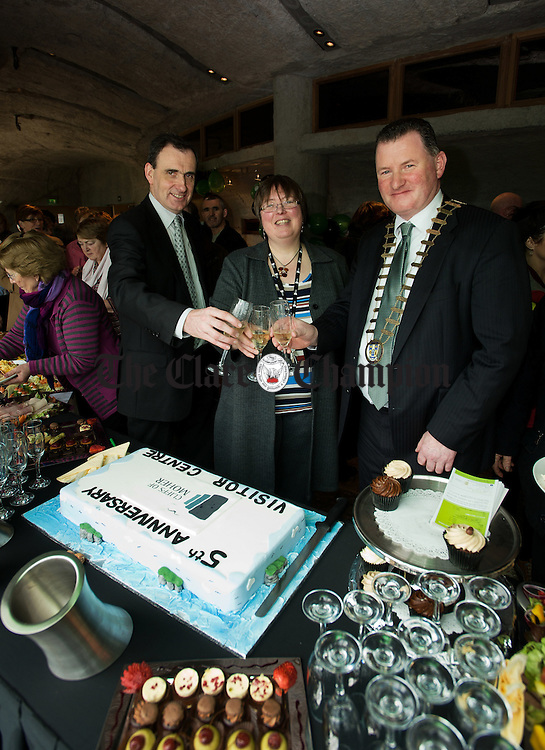 Ger Dollard and Katherine Webster, directors Cliffs of Moher Visitor Centre,  with Mayor of Clare Pat Hayes celebrating the 5th anniversary of the opening of the Cliffs of Moher Visitor Centre. Photograph by John Kelly.