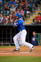 Oklahoma City Dodgers third baseman Mike Freeman (2) follows through on a swing during a game against the Colorado Springs Sky Sox on June 2, 2017 at Chickasaw Bricktown Ballpark in Oklahoma City, Oklahoma.  Colorado Springs defeated Oklahoma City 1-0 in ten innings.  (Mike Janes/Four Seam Images)