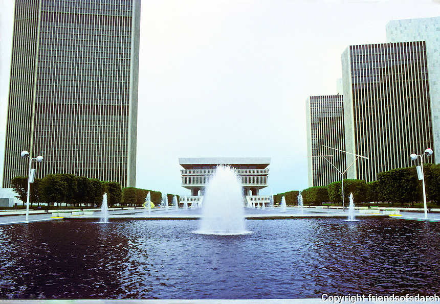 Albany: Empire State Plaza from North end--Tower Building, left; Cultural Education Center, center; and Agency  Buildings 1,2, & 3, right. Photo '88.