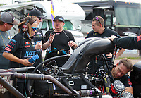 Apr 13, 2019; Baytown, TX, USA; NHRA top fuel driver Scott Palmer and crew members during qualifying for the Springnationals at Houston Raceway Park. Mandatory Credit: Mark J. Rebilas-USA TODAY Sports