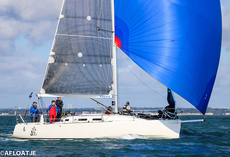 John Maybury's Joker II crew on her way to overall victory for the fifth time in the Irish J109 National Championships on Dublin Bay