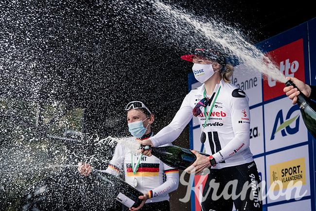 Champagne showers as Lorena Wiebes (NED/Sunweb) wins Brugge-De Panne. <br /> Lisa Brennauer (DEU/Ceratizit-WNT) is 2nd & Lotte Kopecky (BEL/Lotto-Soudal) finishes 3rd.<br /> <br /> AG Driedaagse Brugge-De Panne 2020 (1.WWT)<br /> 1 day race from Brugge to De Panne (156km) <br /> <br /> ©kramon