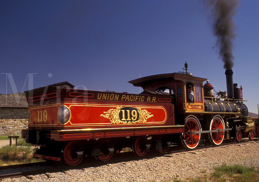 """Golden Spike National Historic Site, locomotive, train, UT, Utah, The 1869 Steam Locomotive """"""""119"""""""" at the Golden Spike Nat'l Historic Site where the Union Pacific and Central Pacific rails met on May 10, 1869."""