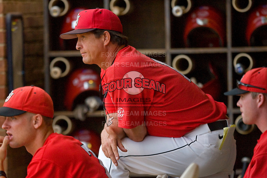 St. John's Red Storm head coach Ed Blankmeyer #1 watches the action from the dugout against the Virginia Cavaliers at the Charlottesville Regional of the 2010 College World Series at Davenport Field on June 6, 2010, in Charlottesville, Virginia.  The Red Storm defeated the Cavaliers 6-5.   Photo by Brian Westerholt / Four Seam Images