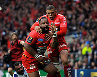 Mathieu Bastareaud of RC Toulon celebrates scoring a try with team mate Bryan Habana of RC Toulon