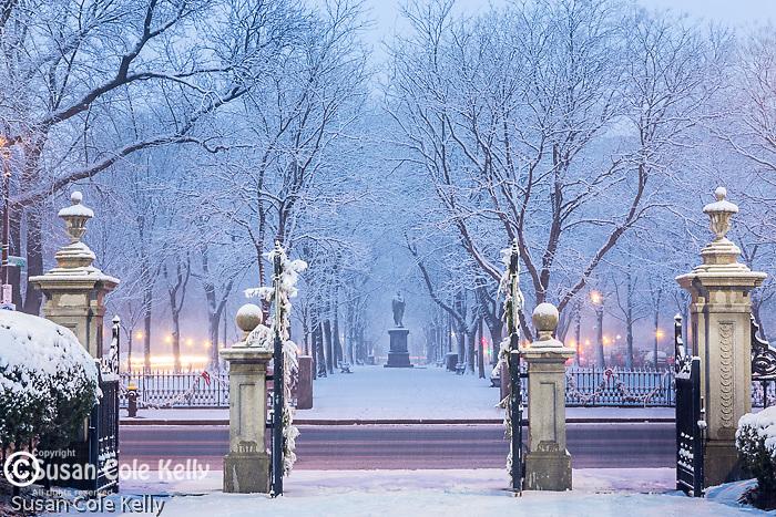 Fresh snow on Commonwealth Avenue in the Back Bay, Boston, Massachusetts, USA