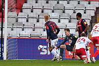 Ali Crawford of Bolton Wanderers F.C. scores the second Goal and celebrates during Stevenage vs Bolton Wanderers, Sky Bet EFL League 2 Football at the Lamex Stadium on 21st November 2020
