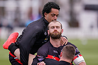 Josh WALTERS (13) of London Broncos and Rhys CURRAN (12) of London Broncos warm up ahead of the Betfred Challenge Cup Round One match between London Broncos and Keighley Cougars at The Rock, Rosslyn Park, London, England on 20 March 2021. Photo by David Horn.