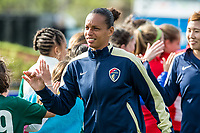 Boston, MA - Sunday May 07, 2017: Rosana Dos Santos Augusto and fans prior to a regular season National Women's Soccer League (NWSL) match between the Boston Breakers and the North Carolina Courage at Jordan Field.