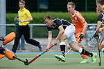 GER - Mannheim, Germany, May 16: During the whitsun tournament boys hockey match between Germany (black) and The Netherlands (orange) on May 16, 2016 at Mannheimer HC in Mannheim, Germany. Final score 4-3 (HT 2-0). (Photo by Dirk Markgraf / www.265-images.com) *** Local caption *** Justus Weigand #23 of Germany (U16)