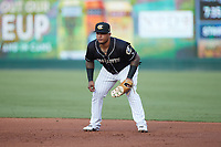 Charlotte Knights first baseman Yermin Mercedes (24) on defense against the Gwinnett Stripers at Truist Field on July 15, 2021 in Charlotte, North Carolina. (Brian Westerholt/Four Seam Images)