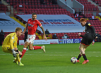 4th May 2021; The Valley, London, England; English Football League One Football, Charlton Athletic versus Lincoln City; Harry Anderson shoots to beat Ben Amos of Charlton and scores for 3-1 in the 88th minute for Lincoln