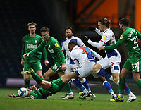 12th February 2021; Ewood Park, Blackburn, Lancashire, England; English Football League Championship Football, Blackburn Rovers versus Preston North End; Liam Lindsey of Preston North End competes for the ball with Ryan Nyambe of Blackburn Rovers as he is upended
