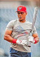 21 September 2018: Washington Nationals infielder Wilmer Difo awaits his turn in the batting cage prior to a game against the New York Mets at Nationals Park in Washington, DC. The Mets defeated the Nationals 4-2 in the second game of their 4-game series. Mandatory Credit: Ed Wolfstein Photo *** RAW (NEF) Image File Available ***