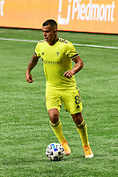 ATLANTA, GA - AUGUST 22: Randall Leal #8 dribbles the ball during a game between Nashville SC and Atlanta United FC at Mercedes-Benz Stadium on August 22, 2020 in Atlanta, Georgia.