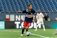 FOXBOROUGH, MA - AUGUST 5: Jake Rozhansky #32 of New England Revolution II looks to pass during a game between North Carolina FC and New England Revolution II at Gillette Stadium on August 5, 2021 in Foxborough, Massachusetts.