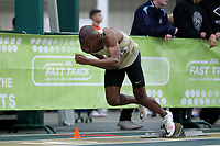 WINSTON-SALEM, NC - FEBRUARY 08: Kaleb Bryant #5 of Wake Forest University leaves the blocks in the Men's 400 Meters at JDL Fast Track on February 08, 2020 in Winston-Salem, North Carolina.