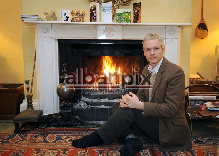 WikiLeaks founder Julian Assange inside his bail address Ellingham Hall in Suffolk, England
