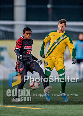 13 November 2019: University of Hartford Hawk Midfielder Addrian Knights-Browne, a Freshman from North York, Ontario, battles University of Vermont Catamount Midfielder Jon Arnar Barðdal, a Senior from Garðabær, Iceland, at Virtue Field in Burlington, Vermont. The Hawks defeated the Catamounts 3-2 in sudden death overtime of the Division 1 Men's Soccer America East matchup. Mandatory Credit: Ed Wolfstein Photo *** RAW (NEF) Image File Available ***