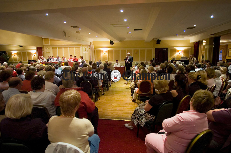 A view of some of the huge crowd who gathered in the Auburn Lodge in Ennis for a protest meeting, organised by the Ennis Hospital Development Committee regarding the retention of 24hr A&E services, as well as Mammography testing. Photograph by John Kelly.