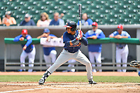 Mississippi Braves shortstop Luis Valenzuela (1) swings at a pitch during a game against the Tennessee Smokies at Smokies Stadium on May 20, 2018 in Kodak, Tennessee. The Braves defeated the Smokies 7-4. (Tony Farlow/Four Seam Images)