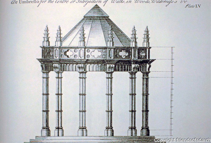 Gothic Umbrello, designed by Batty Langley. He was an English garden designer and  writer who designed Gothic structures, summerhouses and garden seats in the years before the mid-18th century.