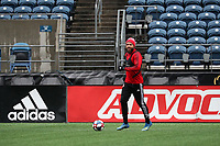 SEATTLE, WA - NOVEMBER 9: Nick DeLeon #18 of Toronto FC runs with a ball at CenturyLink Field on November 9, 2019 in Seattle, Washington.