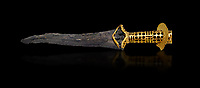Minoan dagger with elaborate gold perforated hilt , Quartier Mu Malia 1800-1600 BC, Heraklion Archaeological  Museum, black background.<br /> <br /> This dagger would have been a status object signifying rank and authority in the Malia Palace hierachy