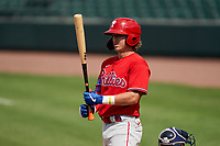 Philadelphia Phillies Bryson Stott (73) bats during a Minor League Spring Training game against the Detroit Tigers on April 17, 2021 at Joker Marchant Stadium in Lakeland, Florida.  (Mike Janes/Four Seam Images)