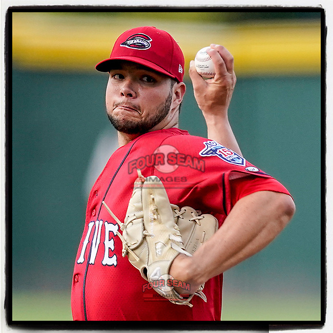 Grant Gambrell (31) of the Greenville Drive delivers a pitch in a game against the Hickory Crawdads on Friday, June 18, 2021, at Fluor Field at the West End in Greenville, South Carolina. (Tom Priddy/Four Seam Images)